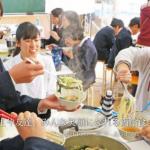 みんなでつつく鍋給食(広報たいし 平成29年3月号)